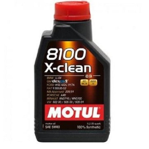 Engine Oil: Motul X-Clean 8100 5W-40 Fully Synthetic Engine Oil - 1L