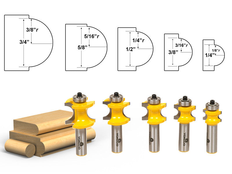 "5 Bit Bullnose Router Bit Set C3 Carbide Tipped 1/2"" Shank- Yonico 13515"