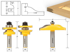 Raised Panel Router Bit Door Set -Round Over with Ogee Panel Raiser Yonico 12336