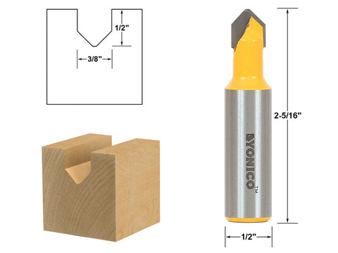 "V Groove Sign Lettering Router Bit - 3/8"" x 1/2"" - 1/2"" Shank - Yonico 14987"