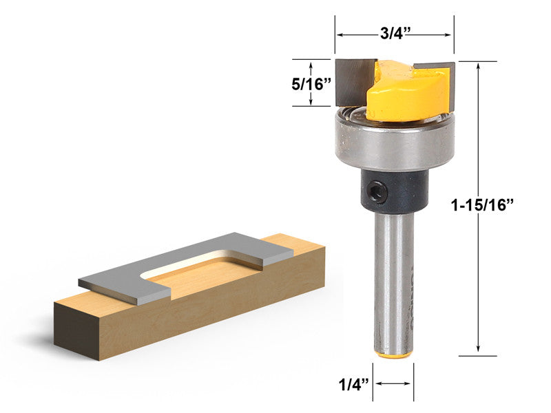 "Template Trim Hinge Mortising Router Bit - 1/4"" Shank - Yonico 14173q"