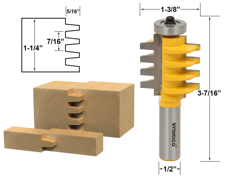 "Reversible Finger Joint Glue Joint Router Bit - 1/2"" Shank - Yonico 15131"