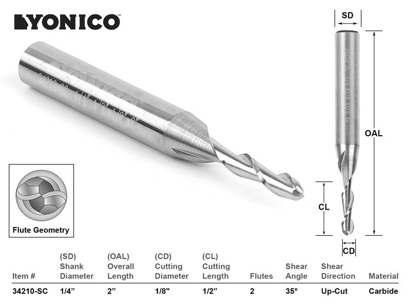 "CNC Router Bit Ball Nose Solid Carbide 1/8"" X 1/2"" X 1/4"" X 2"" - YONICO 34210-SC"