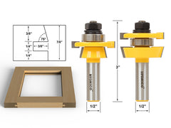 "Rail & Stile Router Bit Set - Shaker 2 Pc. 1/2"" Shank - Yonico 12249"