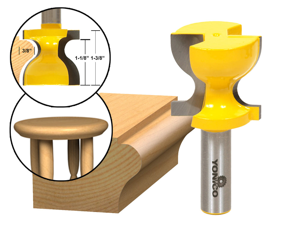 "Windowsill / Stool Molding Router Bit C3 Carbide Tipped 1/2"" Shank Yonico  18140"