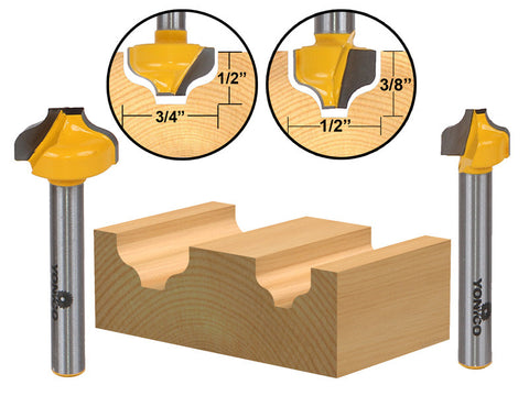 "2 Bit Ogee Groove Router Bit Set - 1/4"" Shank - Yonico 14274q"