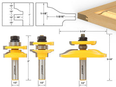Ogee Rail & Stile w/ Backcutter Panel Raiser 3 Bits Router Bit Set -Yonico 12345