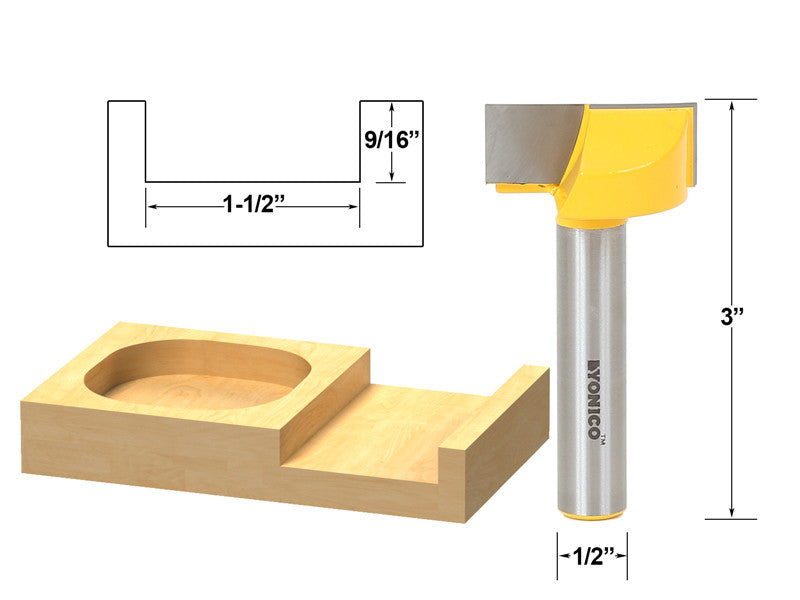 "Bottom Cleaning Dado Router Bit 1-1/2""W X 9/16""H - 1/2"" Shank - Yonico 14976"