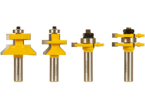 "4 Bit Tongue & Groove and V-notch Router Bit Set - 1/2"" Shank - Yonico 15423"