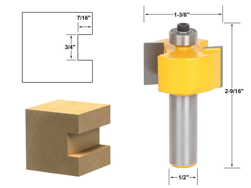 "Rabbeting & Slotting Router Bit 3/4"" Slot - 1/2"" Shank - Yonico 14901"