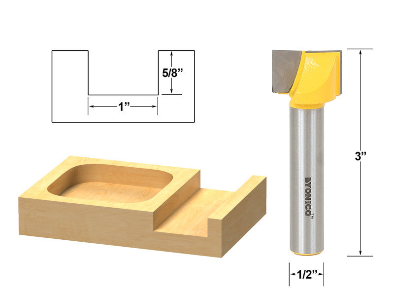 "Bottom Cleaning Dado Router Bit 1"" W X 5/8"" H - 1/2"" Shank - Yonico 14973"