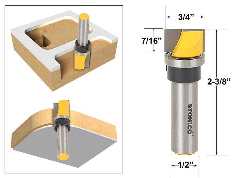 Mortise/Template Trim Router Bit - Bottom Cleaning - 1/2\