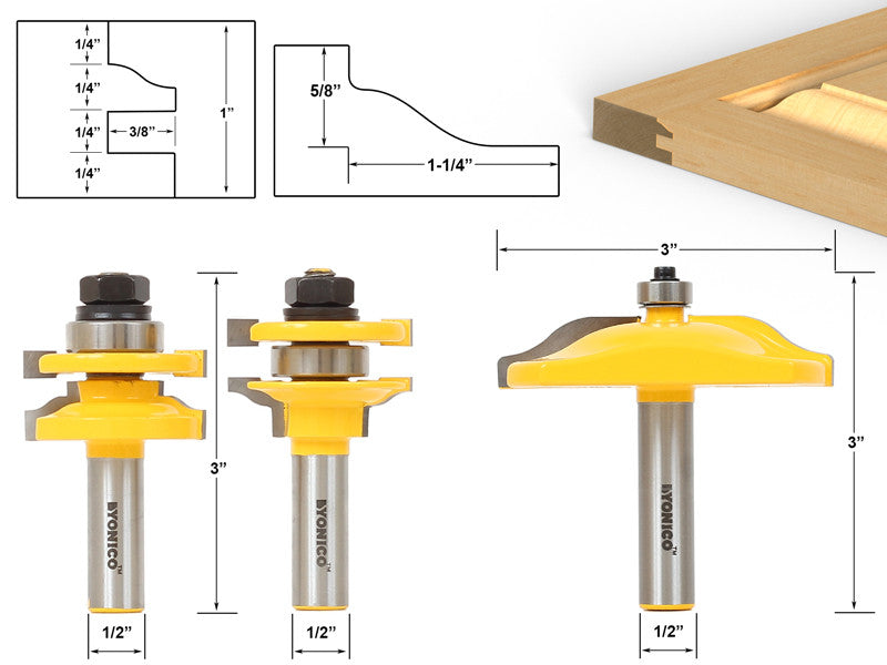 Raised Panel Cabinet Door Router Bit Set - 3 Bit Ogee - Yonico 12335