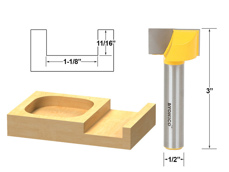 "Bottom Cleaning Dado Router Bit 1-1/8"" W X 5/8"" H - 1/2"" Shank - Yonico 14974"
