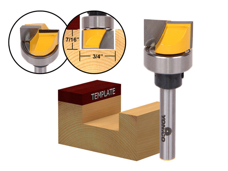 "Hinge Mortise/Template Router Bit - 3/4""W X 7/16""H - 1/4"" Shank Yonico 14170q"