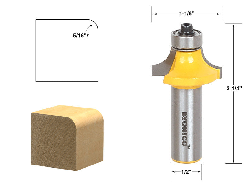 "Round Over Edging Router Bit - 5/16"" Radius - 1/2"" Shank - Yonico 13163"