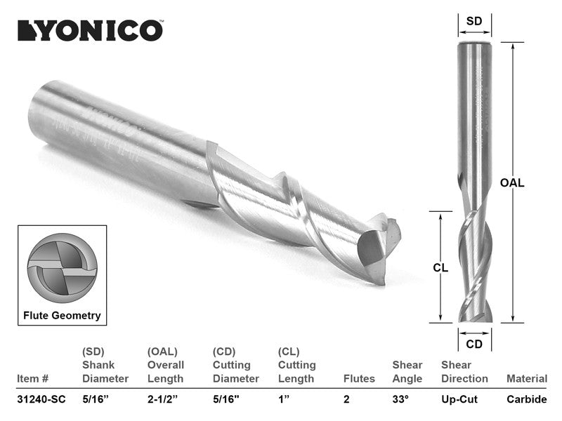 "CNC Router Bit Up Cut Solid Carbide 5/16"" X 1"" X 5/16"" X 2-1/2"" -YONICO 31240-SC"