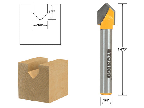 "V Groove Sign Lettering Router Bit - 3/8"" x 1/2"" - 1/4"" Shank - Yonico 14987q"