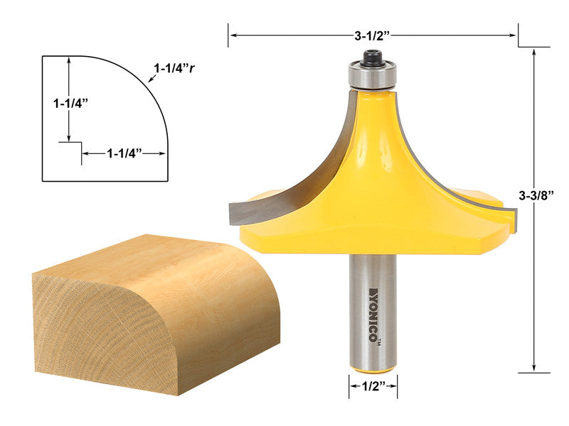"Round Over Edging Router Bit - 1-1/4"" Radius - 1/2"" Shank - Yonico 13170"