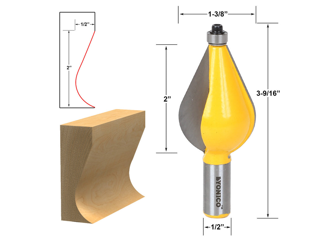 "Large Furniture Foot Mold Router Bit - 1/2"" Shank - Yonico 18136"