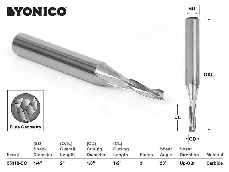 "CNC Router Bit Low Helix Up Cut 1/8"" X 1/2"" X 1/4"" X 2"" - YONICO 35310-SC"