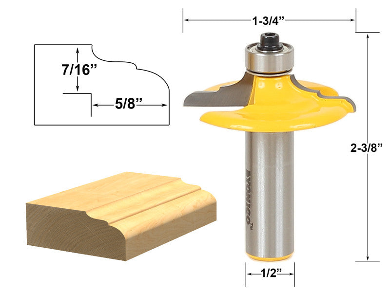 "Drawer & Cabinet Door Front Edging Classical Router Bit-1/2"" Shank- Yonico 12164"