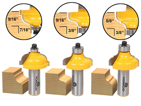 3 Bit Edge Molding Router Bit Set - Medium - Cove & Ogee- Yonico 13327
