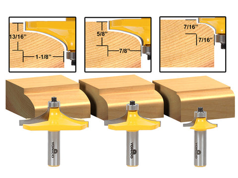 "3 Bit Table Edge Thumbnail Router Bit Set - 1/2"" Shank - Yonico 13340"