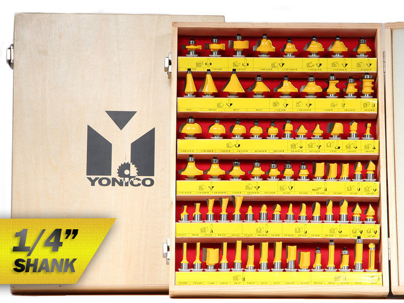 "70 Bits Professional Quality Router Bit Set Carbide - 1/4"" Shank - Yonico 17702q"