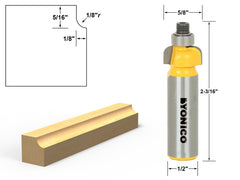 "Cove Edging and Molding Router Bit - 1/8"" Radius - 1/2"" Shank - Yonico 13151"