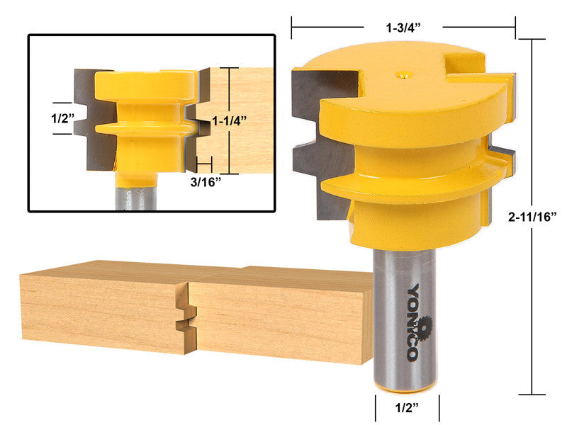 "Reversible Glue Joint Router Bit - 1-1/4"" Stock - 1/2"" Shank - Yonico 15135"