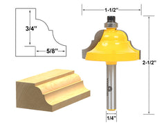 "Double Roman Ogee Edging Router Bit - Large - 1/4"" Shank - Yonico 13124q"
