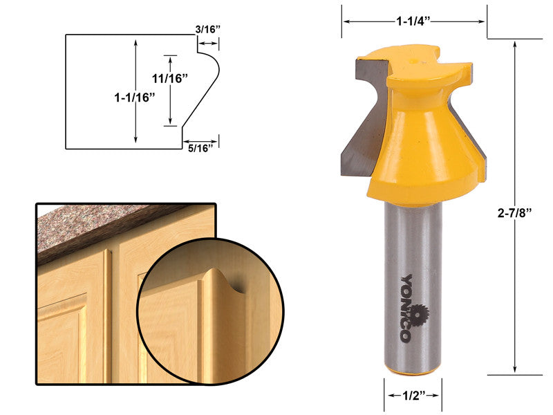 "Door Lip & Finger Grip Router Bit - 1/2"" Shank - Yonico 13128"