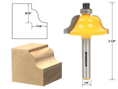 "Roman Ogee Edging and Molding Router Bit - Medium -1/4"" Shank - Yonico 13183q"