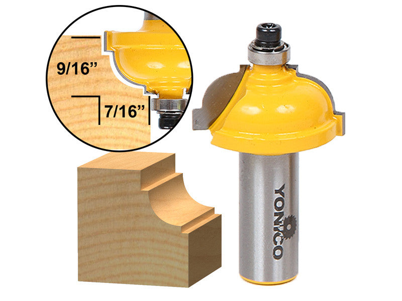 "Classical Cove Edging Router Bit - 5/16"" Radius -1/2"" Shank - Yonico 13181"