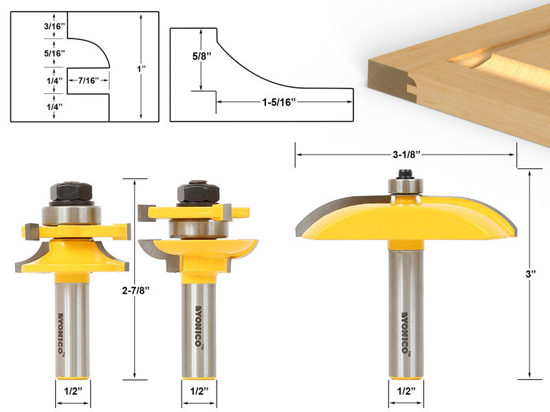 Raised Panel Cabinet Door Router Bit Set - 3 Bit Cove -  12339