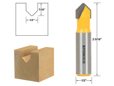 "V Groove Sign Lettering Router Bit - 1/2"" x 7/16"" - 1/2"" Shank - Yonico 14988"