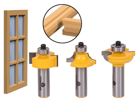 "3 Bit Glass Door Router Bit Set - Round-Over Bead - 1/2"" Shank - Yonico 12319"