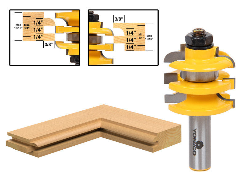 "1 Pc. Stacked Rail and Stile Router Bit - Cove - 1/2"" Shank - Yonico 12119"