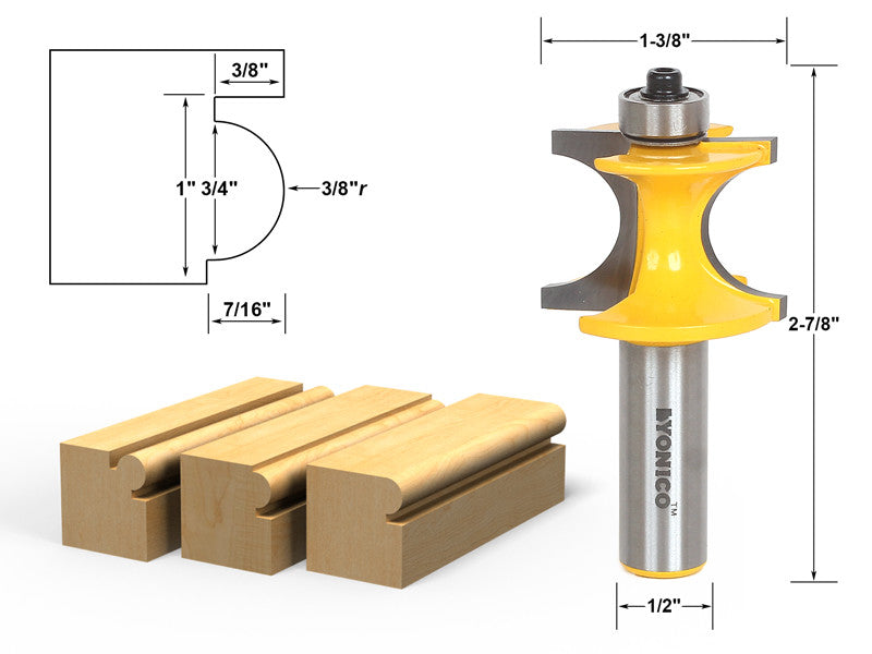 "Bullnose Beading Router Bit 3/8""r - 3/4"" bead - 1/2"" Shank - Yonico 13195"