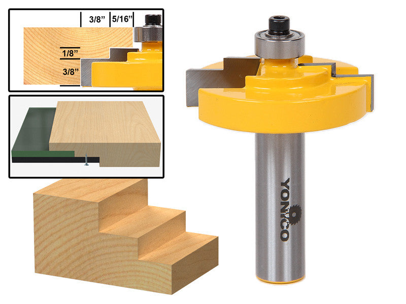 "Picture Frame Stepped Rabbet Router Bit For 1/8"" Glass - Yonico 18128"
