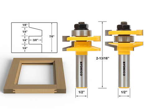 "2 Bit Rail & Stile Router Bit set - Bevel - 1/2"" Shank - Yonico 12247"