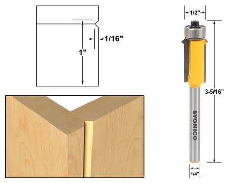"""V"" Notch Flush Trim Face Frame Router Bit - 1/4"" Shank - Yonico 14149q"