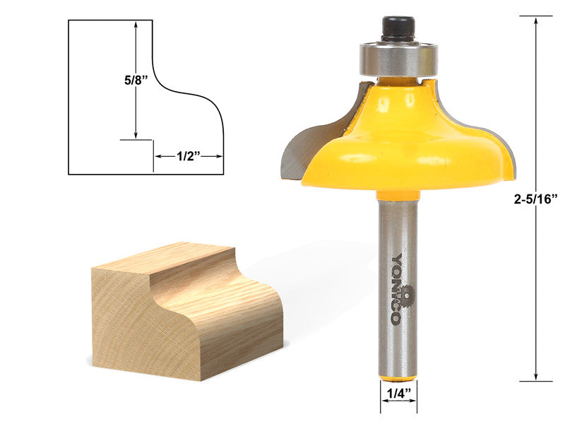 "Ogee Edging and Molding Router Bit - Large - 1/4"" Shank - Yonico 13148q"