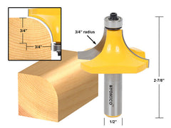 "Round Over Edging Router Bit - 3/4"" Radius - 1/2"" Shank - Yonico 13168"