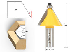 "30° Chamfer & Bevel Edging Router Bit - 1/2"" Shank - Yonico 13905"