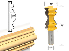 "Large Elaborate Chair Rail Molding Router Bit - 1/2"" Shank - Yonico 16121"