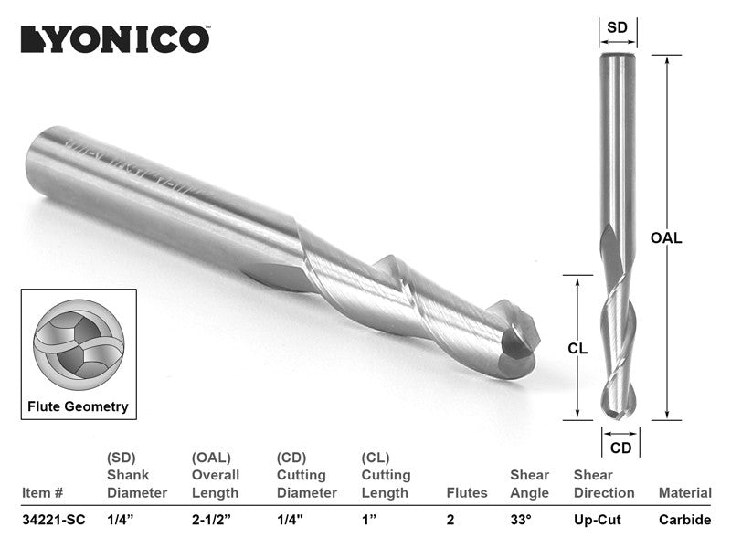 "CNC Router Bit Ball Nose Solid Carbide 1/4"" X 1"" X 1/4"" X 2-1/2"" YONICO 34221-SC"