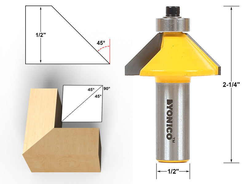 "45° Chamfer & Bevel Edging Router Bit - 1/2"" Shank - Yonico 13906"