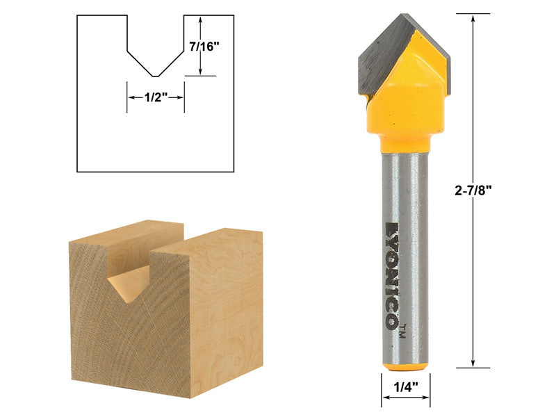 "V Groove Sign Lettering Router Bit - 1/2"" x 7/16"" - 1/4"" Shank - Yonico 14988q"